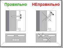 Все крепежные элементы устанавливаются строго перпендикулярно относительно панели. Наклоны и загибы крепежей не допускаются