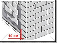 Стартовая планка устанавливается строго горизонтально в самом низу стены на расстоянии 10 см от угла строения