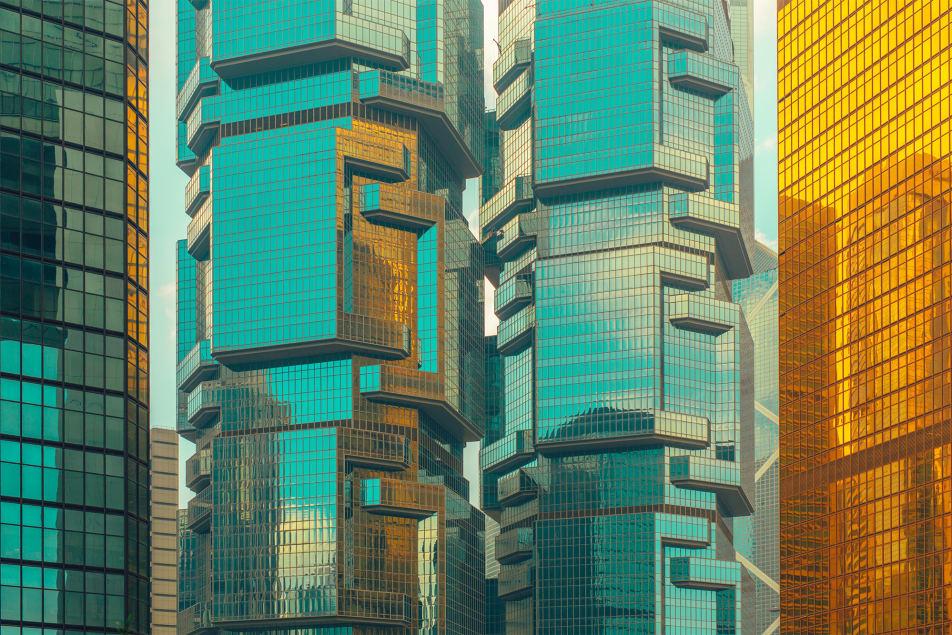 Коллекция стеклянных фасадов в Гонконге, города с большим количеством небоскребов