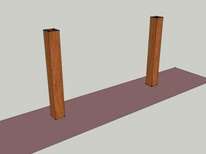 Опорные столбы устанавливаются согласно разметке