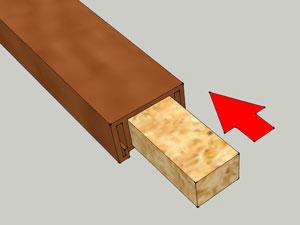 Установите внутрь перил отрезки деревянного бруска
